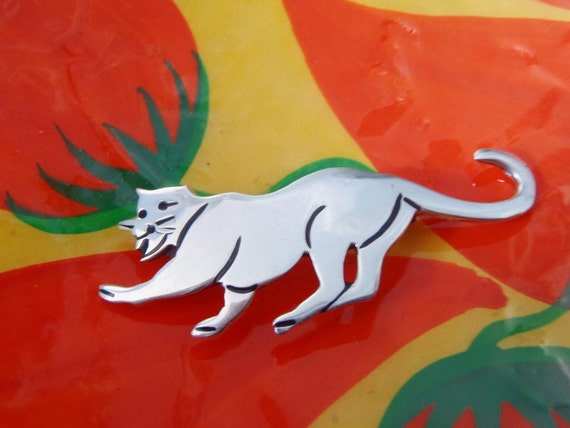 Vintage Taxco Sterling Silver Brooch Pin Mountain Lion Cougar 1980s Signed TH-77 Mexican Silver Jewelry