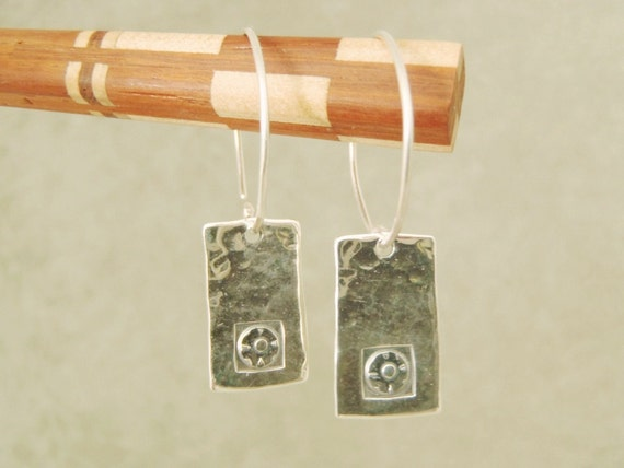 Sterling Silver Earrings with Stamped Flower in Square Design Silver Hoops Original New Handcrafted Pierced Earrings