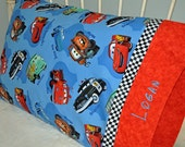 Disney Cars Handmade Cotton Standard Pillowcase with Embroidered Name