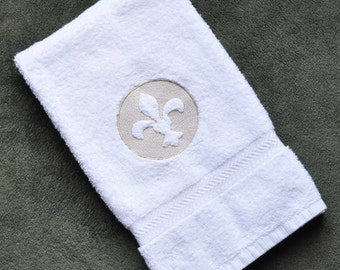 Fleur de Lis Embossed French Hand Towel Ready to Ship