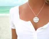 Sand Dollar Necklace Silver Sand Dollar Pendant Necklace Sand Dollar Jewelry Sand Dollar Wedding Sterling Silver Necklace Gift for Her