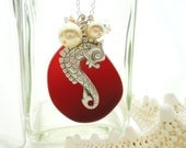 Sea Glass Necklace Red Atlantis Sea Glass Necklace Sea Glass Pendant Sea Glass Jewelry Seahorse Sterling Silver Necklace