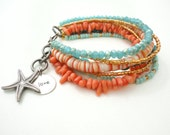 Turquoise Beach Bracelet Friendship Bracelet Beaded Bracelet Starfish Stamped Charm Bracelet Gypsy Bohemian Jewelry Bracelet Gift for Her