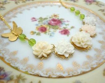 White Floral Necklace Secret Garden Pendant Fairy Tale Accessory Victorian Ecru Charm Romantic Nostalgic Whimsy Statement Piece Gift for Her