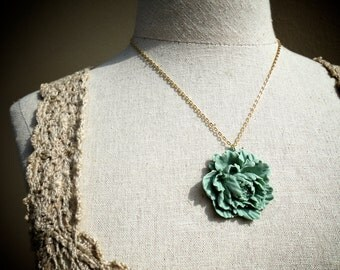 Peony Flower Necklace Sage Green Peony Necklace Peony Flower Pendant Peony Flower Jewelry Pendant Charm Necklace Jewelry Gift for Her