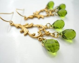 Chandelier Crystal Earrings Marie Antoinette Earrings Chandelier Bridal Earrings Gold Victorian Rococo Crystal Emerald Chandelier Earrings