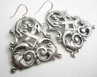 Silver Chandelier Earrings Marie Antoinette Gothic Chandelier Earrings Victorian Rococo Statement Chandelier Earring Wedding Jewelry gift
