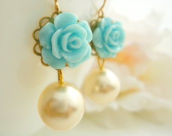 Flower Earrings Pearl Dangle Flower Earring Marie Antoinette Rose Flower Earring Cabochon Flower Earring Dangle Earrings Gift for Her