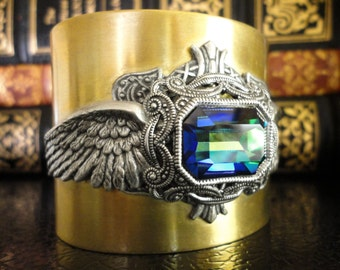 Wings of Atlantis Cuff Bracelet Gothic Cuff Victorian Steampunk Cuff Bracelet Gothic Bracelet Steampunk Jewelry Gift for Her