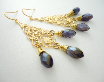 Gold Chandelier Earrings Chandelier Earring Chandelier Crystal Earrings Amethyst Purple Teardrop Gold Chandelier Earring Gift for Her
