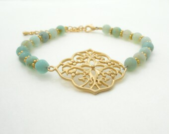 Moroccan Bracelet Friendship Bracelet Beaded Bracelet Gold Filigree Charm Bracelet Amazonite Gypsy Bohemian Jewelry Bracelet Gift for Her