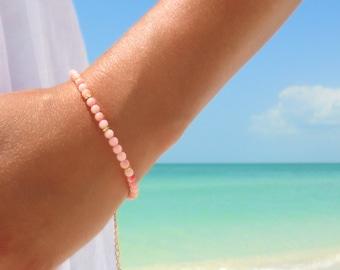 Pink Coral Bracelet Friendship Bracelet Beaded Bracelet Gold Peach Charm Bracelet Gypsy Bohemian Jewelry Bracelet