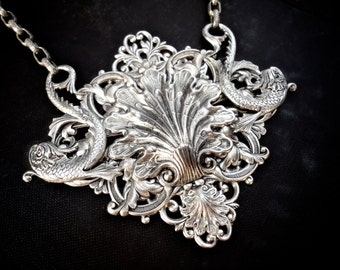 Atlantis Gothic Filigree Necklace Silver Filigree Statement Necklace Gothic Victorian Neptune Mermaid Pisces Filigree Antique Style Jewelry