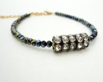 Swarovski Black Diamond Crystal Bracelet Friendship Bracelet Beaded Bracelet Gold Charm Bracelet Gypsy Bohemian Bracelet Jewelry Gift