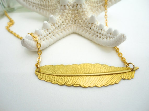 Feather Necklace Sweet Rococo Victorian Fairytale Marie Antoinette Pendant 14k Gold Plated Chain Gyspy Bohemian Accessory Gift for Her