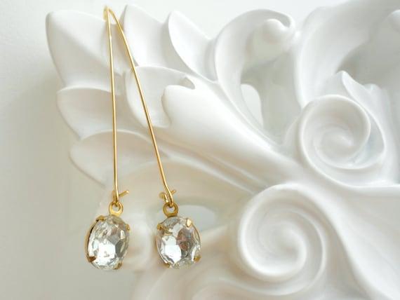 Crystal Drop Earrings Drop Earrings Long Dangle Earrings Vintage Crystal Drop Earrings Jewelry Crystal Dangle Drop Earrings