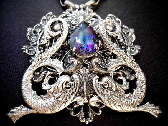 Heart of Atlantis Filigree Necklace Neptune Statement Necklace Mermaid Atlantis Jewelry Pisces Neptune Jewelry Mermaid Jewelry Gift