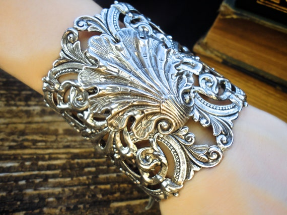 Atlantis Filigree Bracelet Silver Filigree Cuff Bracelet Gothic Mermaid Neptune Cuff Bracelet Filigree Antique Vintage Style Jewelry