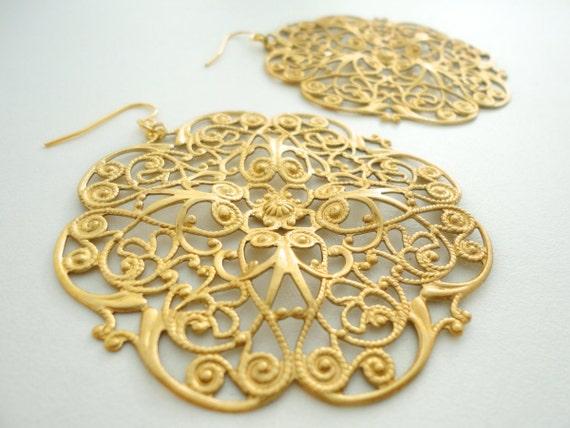 Gold Moroccan Earrings Gypsy Jewelry Bohemian Dangle Earring Gypsy Boho Jewelry Gothic Filigree Statement Dangle Earrings