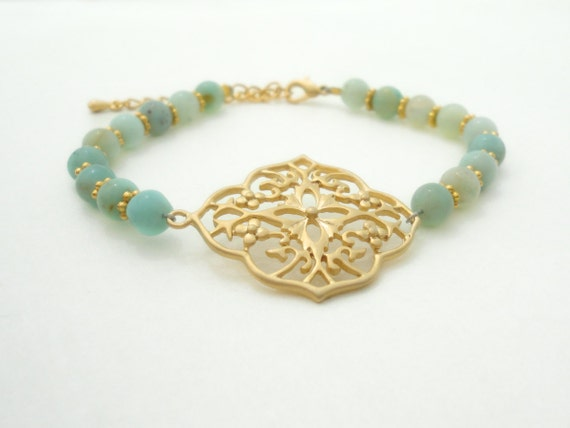 Moroccan Bracelet Friendship Bracelet Beaded Bracelet Gold Filigree Charm Bracelet Amazonite Gypsy Bohemian Jewelry Bracelet Gift for Her