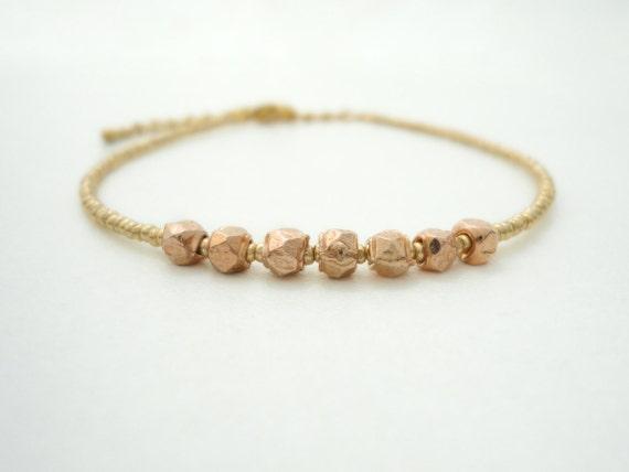 Rose Gold Nugget Bracelet Friendship Bracelet Beaded Bracelet Gold Filigree Charm Bracelet Gypsy Bohemian Jewelry Bracelet