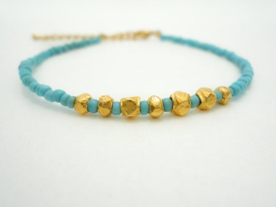 Turquoise Gold Nugget Bracelet Friendship Bracelet Beaded Bracelet Gold Charm Bracelet Gypsy Bohemian Jewelry Bracelet Jewelry Gift for Her