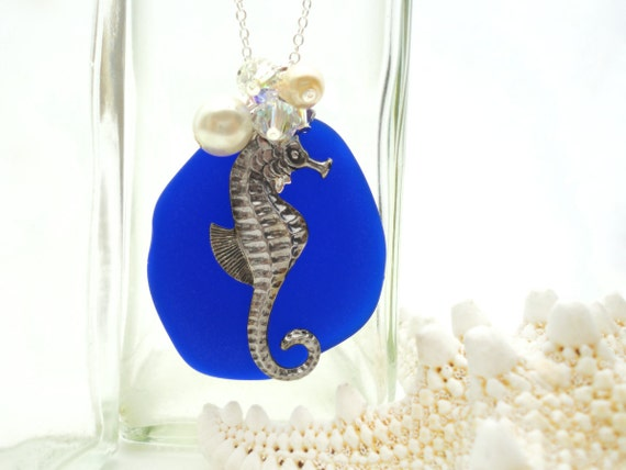 Atlantis Sea Glass Necklace Blue Sea Glass Necklace Sea Glass Pendant Sea Glass Jewelry Seahorse Sterling Silver Necklace