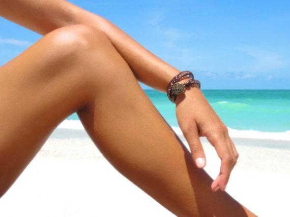 Crystal Leather Wrap Bracelet Beach Bracelet Friendship Bracelet Beaded Bracelet Leather Double Wrap Bracelet Boho Bohemian Bracelet