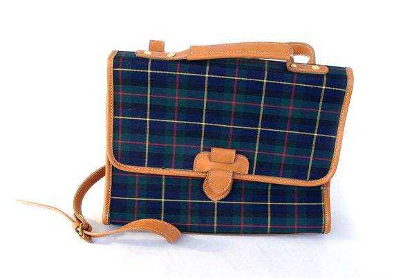 plaid schoolgirl satchel by keds. faux leather accents.