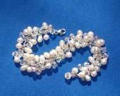 Swarovski Crystal, Fresh Water Pearl and Sterling Silver Bridal Bracelet