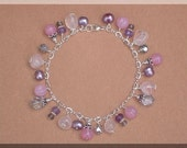 Multi Stone and Sterling Silver Charm Bracelet -TT TEAM