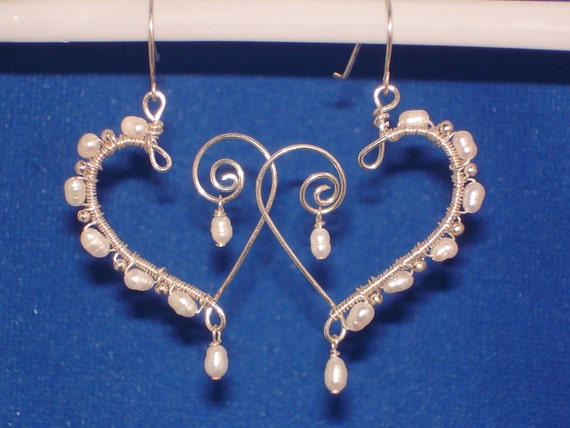 Fresh Water Pearl and Sterling Silver Heart Earrings