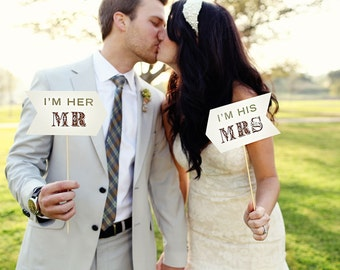 I'm His Mrs I'm Her Mr Signs - Photo Prop - Rustic - Custom Color