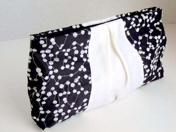 Ribbon Clutch in Black and White Taffeta Polka Dots