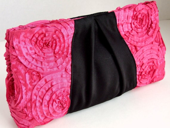 Ribbon Clutch in Hot Pink Roses and Black Satin