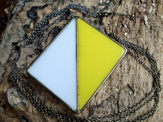 Vintage Geometric Yellow and White Nautical Flag Necklace