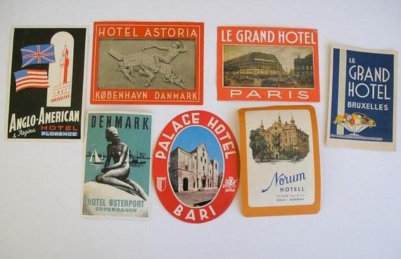 Seven Different International Hotel Luggage Labels Paris Brussels Florence Oslo Copenhagen
