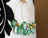 Apatite Quartz Pear Briolette Gold Boho Hoop Earrings