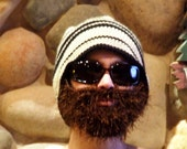 Beanie Hat bearded beanie with attached faux fur beard, Choose Colors