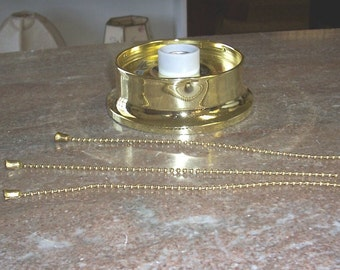 Lamp Part - Brass Beaded Fixture for Antique 3 Chain Glass Shades