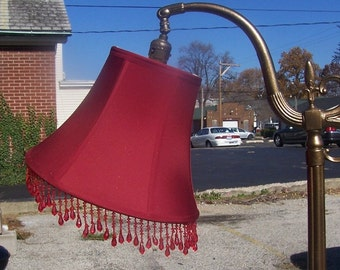 Red Crimson Silk Lampshade for SMALL Bridge Lamp w/Beads - Gorgeous