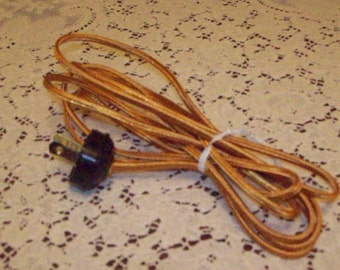 10' Section NEW Gold Rayon Lamp Cord for Antique Lamps w/Acorn Plug