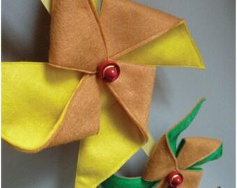 Pinwheel Mobile/Wall Hanging  Yellow and Green