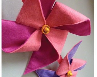 Pinwheel Mobile/Wall Hanging  Pink and Purple