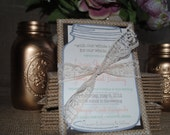Burlap and Lace Invitations (RSVP postcard & outer envelope included)