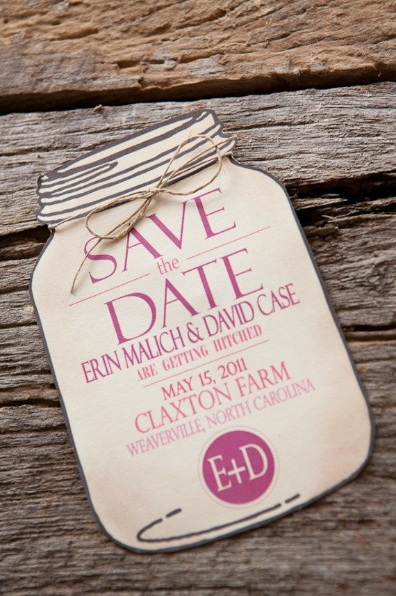 Items similar to Mason Jar Save the Date for wedding invitations ...