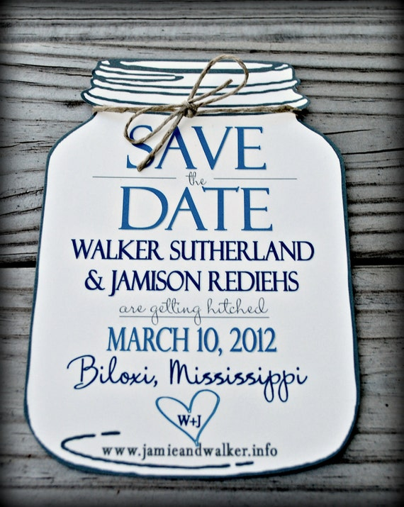 Items similar to Mason Jar Save the Date (envelopes included) on Etsy
