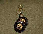 Beautiful Black Gold and Green Killian's Irish Red Horse Profile Bottle Cap Earrings