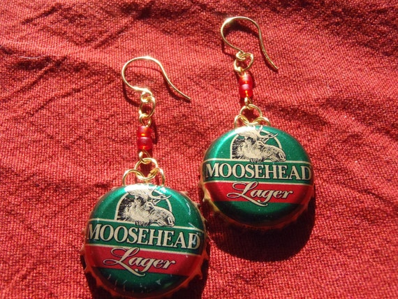 Moose Head Lager Green Red and Gold Dangle Earrings