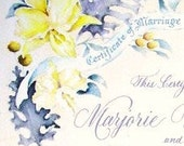 Custom Painted Marriage Certificate Victorian Wedding Style Inscribed Calligraphy Scroll